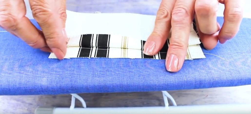 Wonderfil Iron n Fuse limtråd brukt for å holde stripete stoffer på plass.