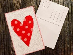 Postkort hjärta DIY sy med Janome